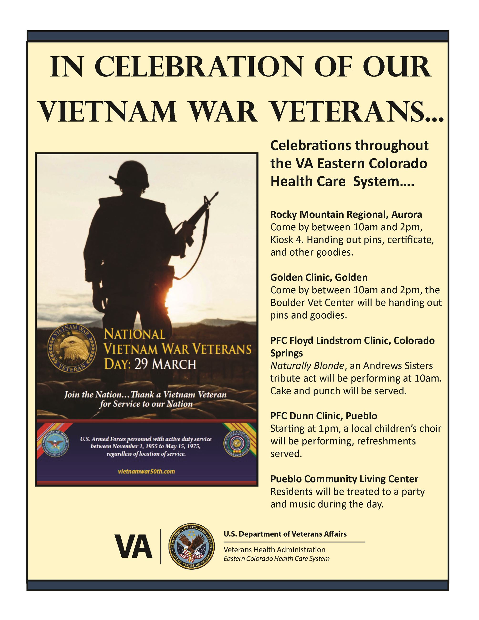 In Celebration of Our Vietnam War Vets - Celebrations throughout the VA Eastern Colorado Health Care