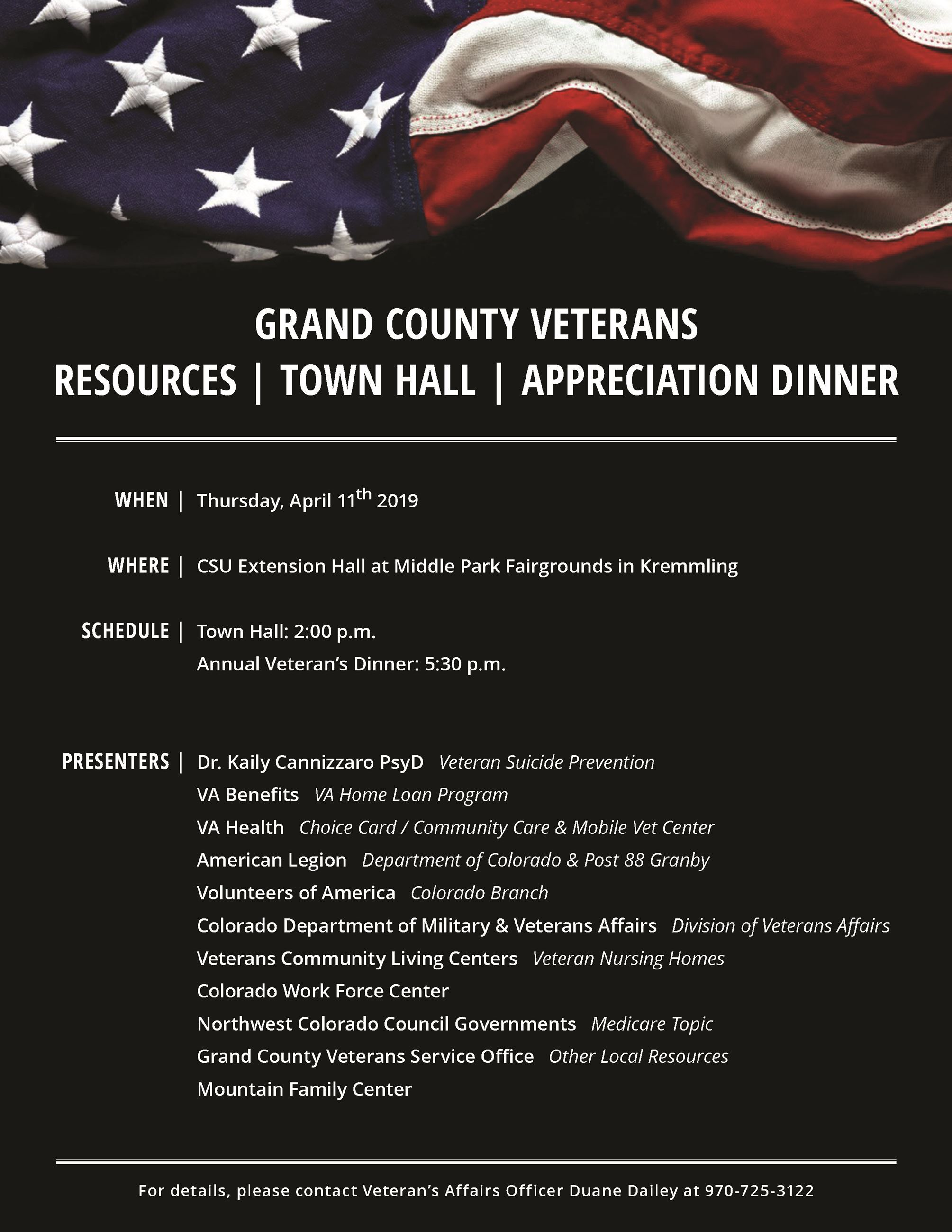 GRAND COUNTY VETERANS RESOURCES | TOWN HALL | APPRECIATION DINNER WHEN | WHERE | SCHEDULE | PRESENTE