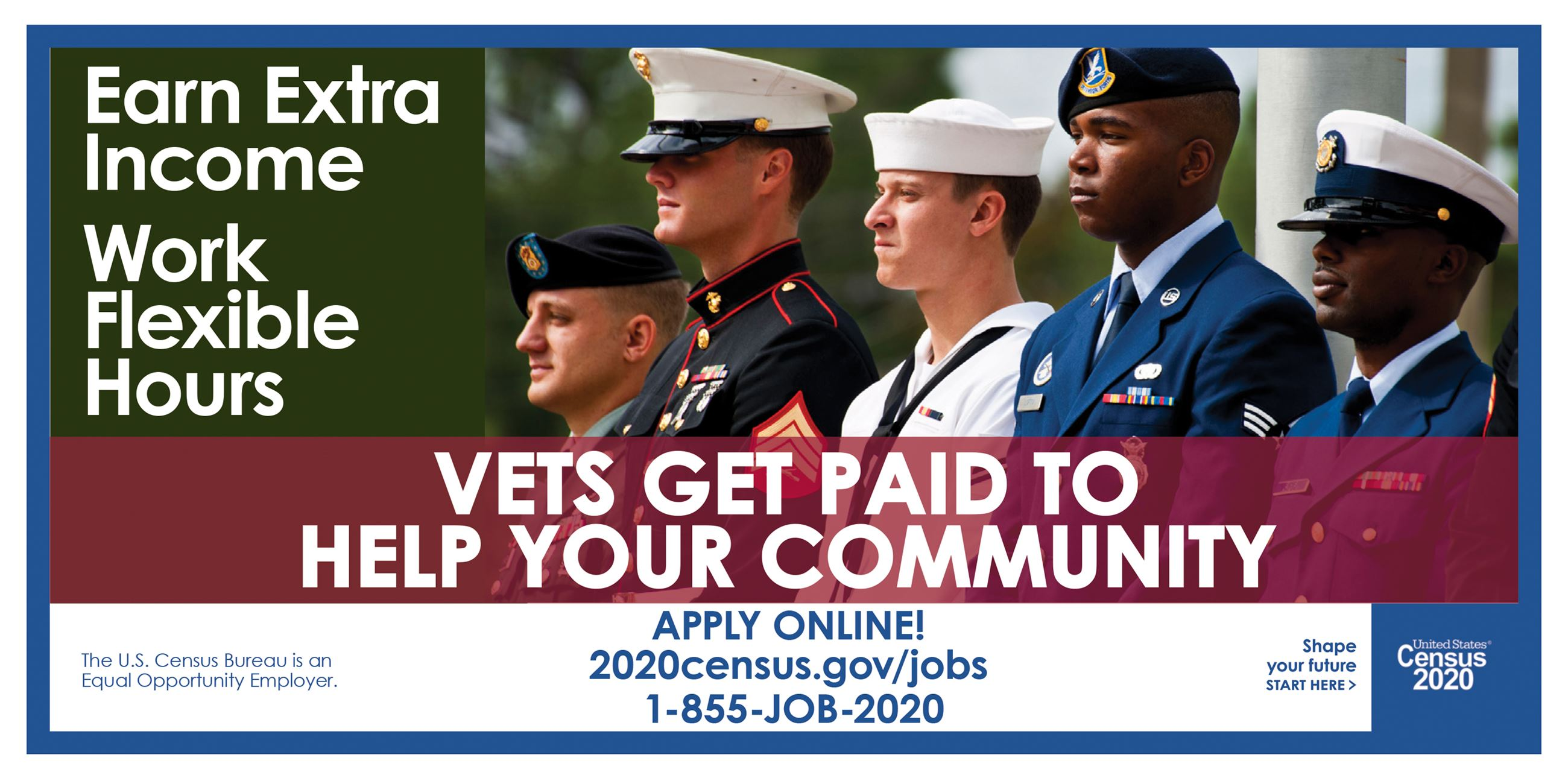 Earn extra income work flexible hours vets get paid to help your community apply online 2020census.g
